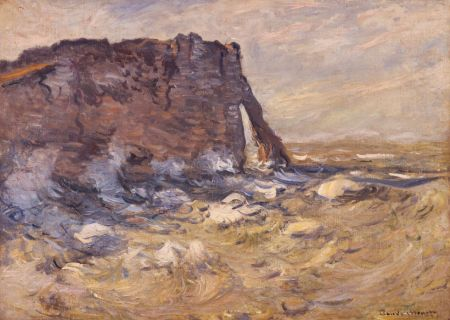 Monet acantilado y porte d aval con mal tiempo 1883