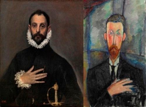 El-caballero-de-la-mano-en-el-pecho-El-Greco.-Paul-Alexandre-ante-una-vidriera-Amedeo-Modigliani
