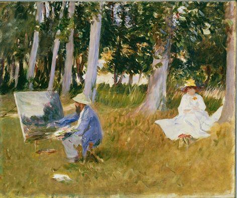 monet pintando junto a bosque 1885